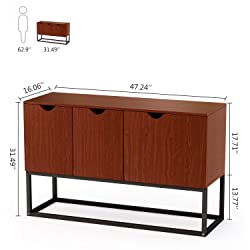 """LITTLE TREE Console Sofa Table Standing Storage Cabinet Side Organizer Unit, 47.24""""x15.75""""x31.50"""", Cherry"""
