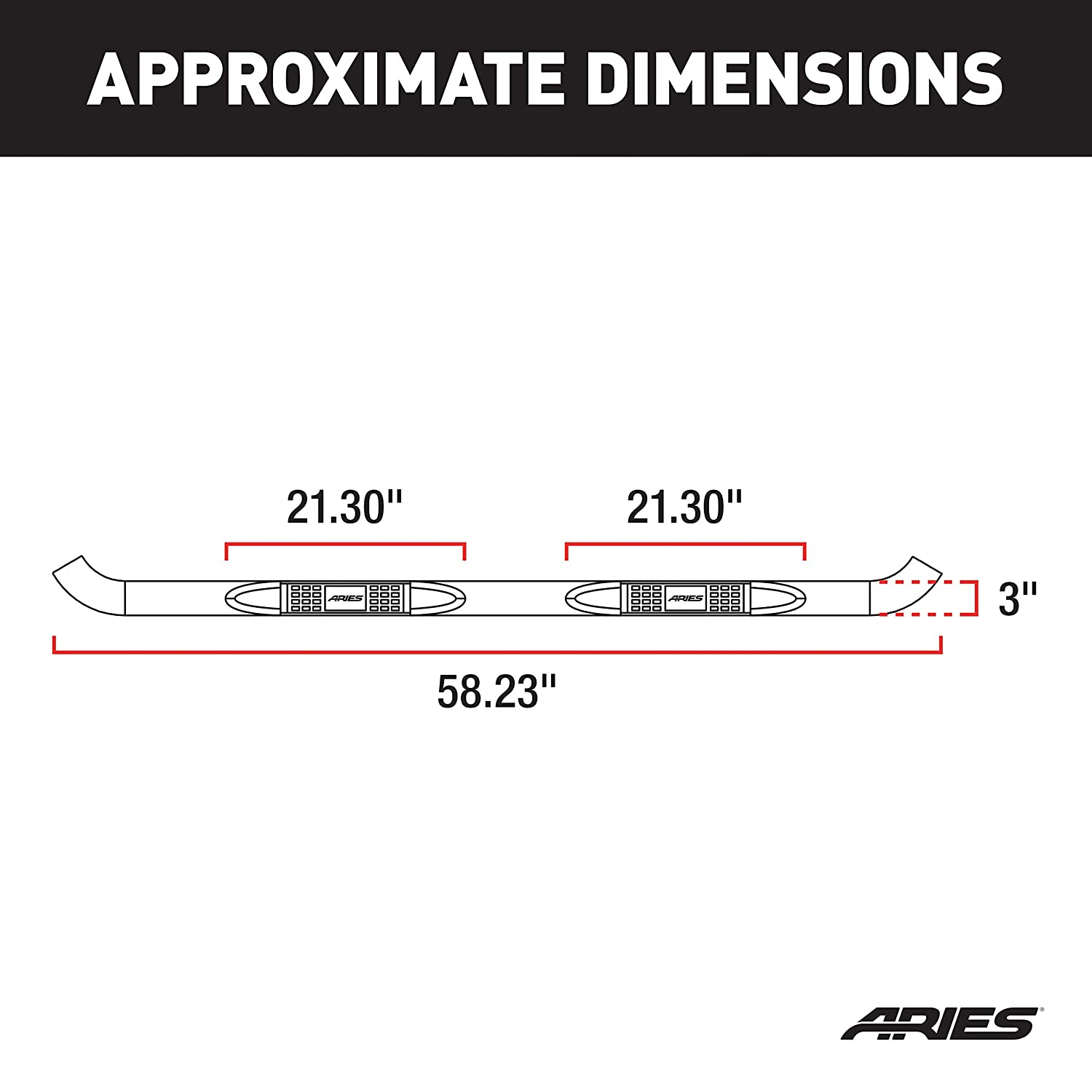 ARIES 203045 3-Inch Round Black Steel Nerf Bars Select Ford F-150, F-250, F-350 Super Duty