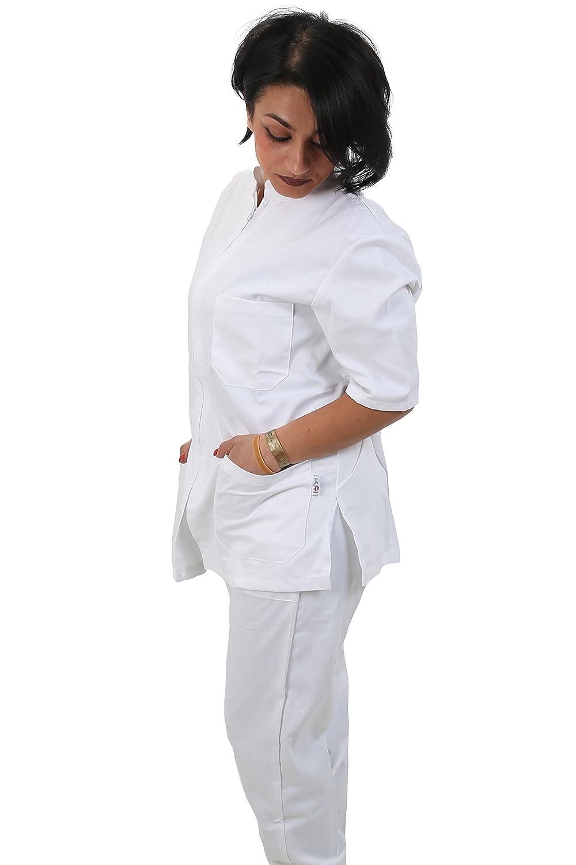 Divisa Completa da Lavoro Bianco Zip Collo Coreano Unisex Cotone ESTETICA  Infermiere A ingrandisci e99fd16091fb
