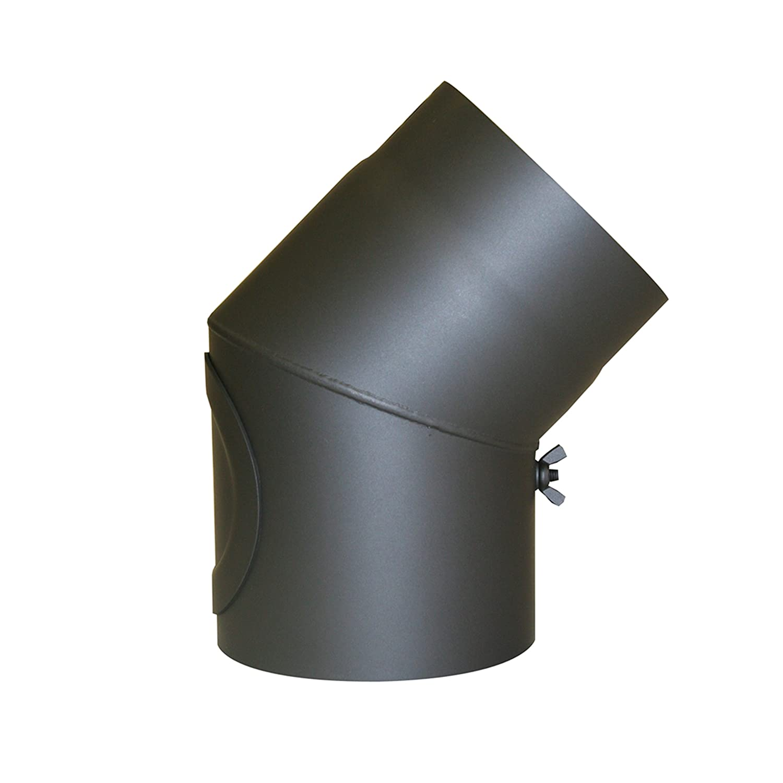 Kamino - Flam – Codo con válvula para chimenea de leña, Codo para estufa de leña, Codo de escape – resistente a altas temperaturas – Gris oscuro, 150 mm/45°C Codo para estufa de leña 150 mm/45°C Kamino Flam