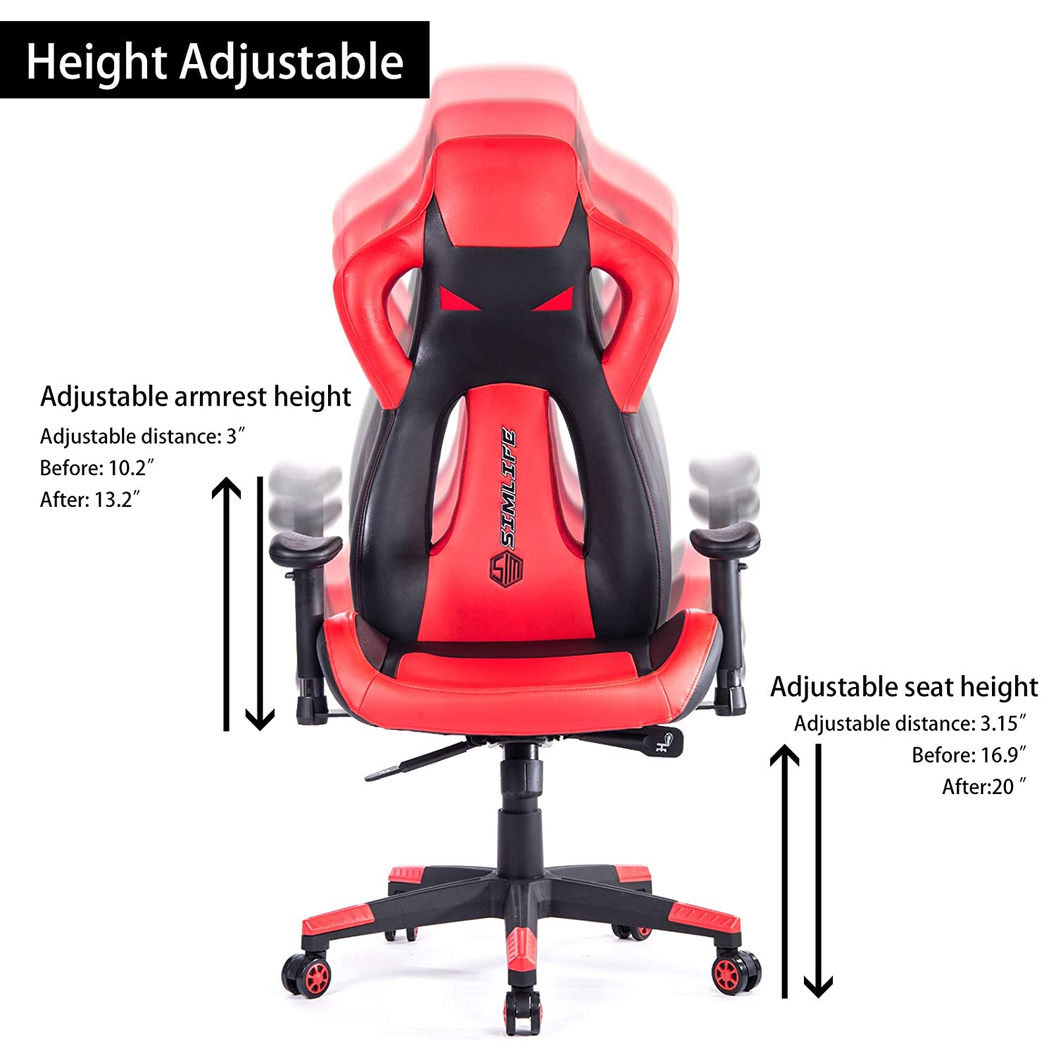 Gifts for Boy Simlife 440 LBS Large PC Gaming Racing Chair Tall Back Swivel Office Computer Desk Chairs with 135/°Back Reclining Adjustable Height /& Armrest