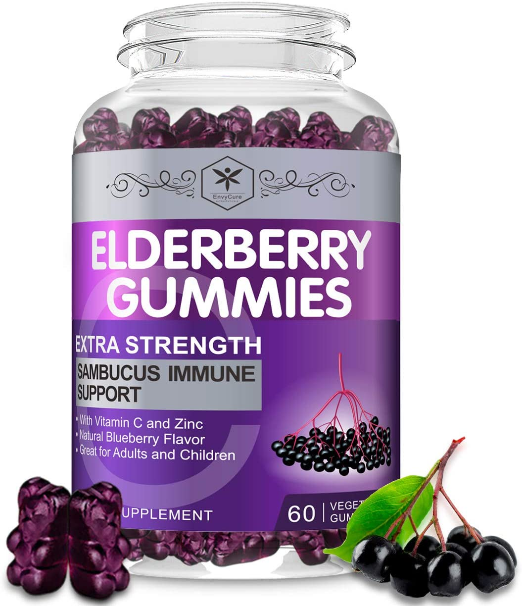 Sambucus Elderberry Gummies for Immune Support - Organic Black Elderberry Extract Gummy Herbal Supplements for Adults Kids