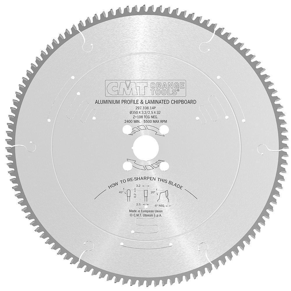 CMT Orange Tools 297.108.14P - Sierra circular 350x3.2x32 z 108 tcg -6 grados silenciosa