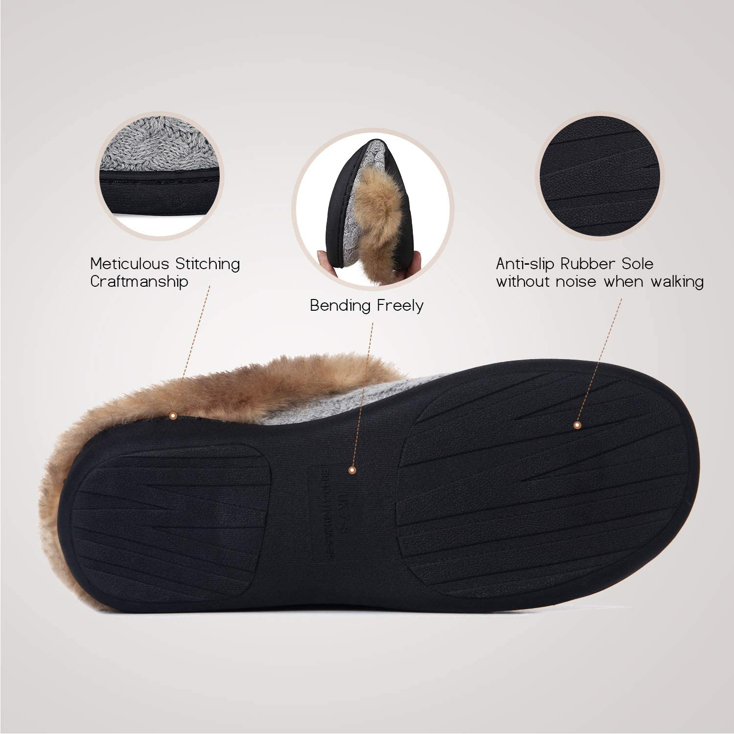 Ladies Slipper House Memory Foam Slippers Comfort and Warm Slippers for Mens and Womens Indoor Outdoor Non-Slip Plush Slippers
