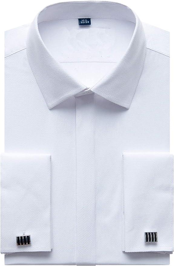 Hombre Camisas Manga Larga Regular Fit Básica Entallada Casual Transpirable (Incluir Gemelos y Ballenas para Camisas): Amazon.es: Ropa y accesorios