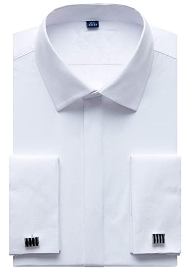 90b96c80a6a79 J.VER Men's Dress Shirts French Cuff Long Sleeve Regular Fit Formal(Include  Metal Cufflinks and Metal Collar Stays)