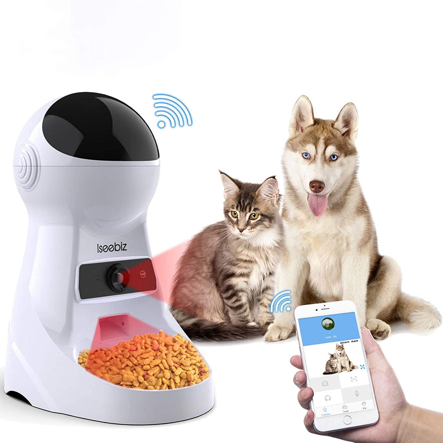 Iseebiz Automatic Cat Feeder Pet Feeder 3L Food Dispenser with Wi-Fi Camera Time and Meal Size Programmable Recorder Up to 6 Meals A Day for Medium and Large Cats and Dogs…