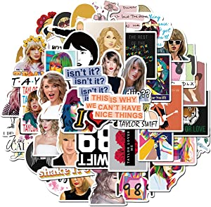 Singer Taylor Alison Swift Stickers 50PCS for Laptop and Water Bottles,Waterproof Durable Trendy Vinyl Laptop Decal Stickers Pack for Teens, Water Bottles, Computer, Travel Case (Taylor Swift)
