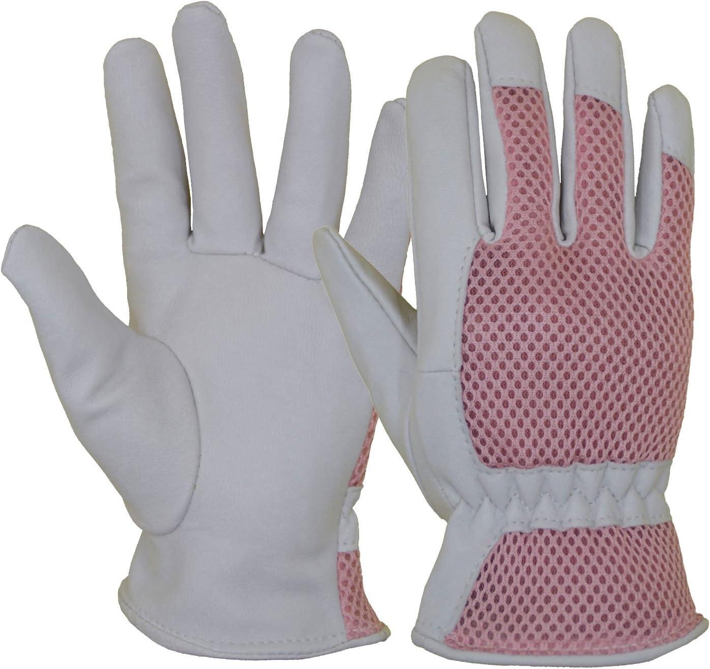 Goatskin Leather Gardening Gloves Women, 3D Mesh Comfort Fit- Improves Dexterity and Breathability Design, Scratch Resistance Ladies Garden Working Gloves for Vegetable