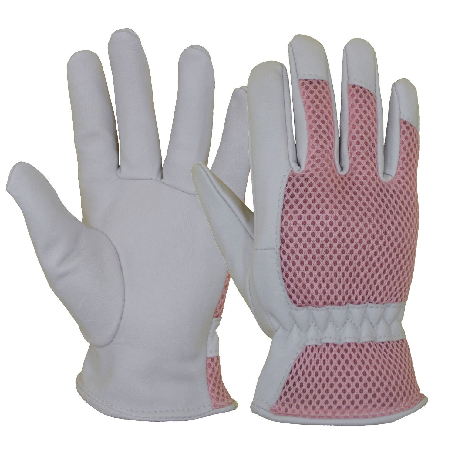 Goatskin Leather Gardening Gloves Women, 3D Mesh Comfort Fit- Improves Dexterity and Breathability Design, Scratch Resistance Garden Working Gloves for Vegetable or Pruning Roses (Medium/Pink)
