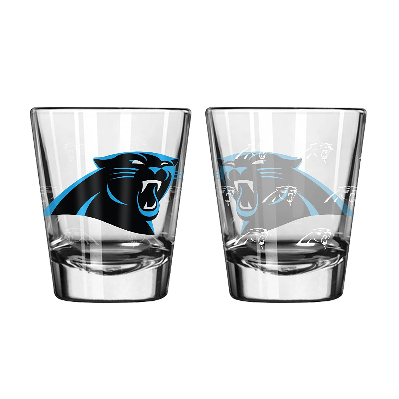 NFL Carolina Panthers Shot GlassSatin Etch Style 2 Pack, Team color, One Size