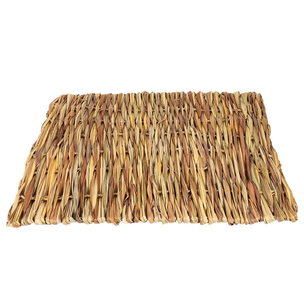 GLOGLOW 2 Tamaños Pequeños Animales Tejidas a Mano esteras de Hierba, no tóxico Conejo Masticar Toy Mat Bed Comible Hand Knitting Pet Grass Almohadillas(L): ...