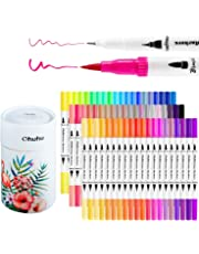 Ohuhu Art Markers Dual Tips Coloring Brush Pen & Fineliner Color Pens, 60 Colors of Permanent Marker Highlighter Pens for Calligraphy Drawing Sketching Coloring Book Bullet Journal Art Projects,Christmas Gifts Ideas