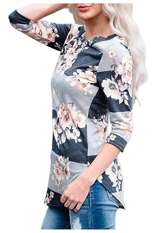 Issza Donna Autunno Casual Stampare Maglia Floreali Camicetta con tre maglie a manica lunga