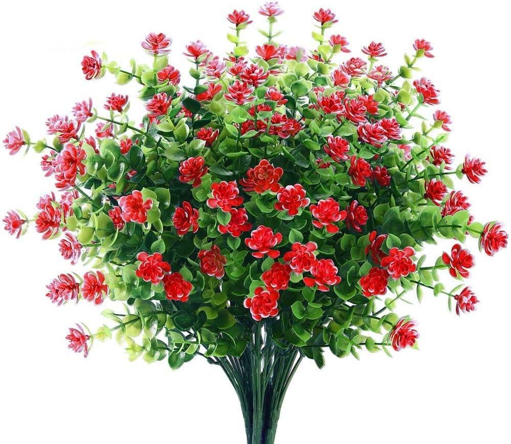 Consio 6 Bundles Artificial Flowers Outdoor Decoration UV Resistant Plants Plastic Fake Window Box Home Garden Office Wedding Decor (Orange Red)