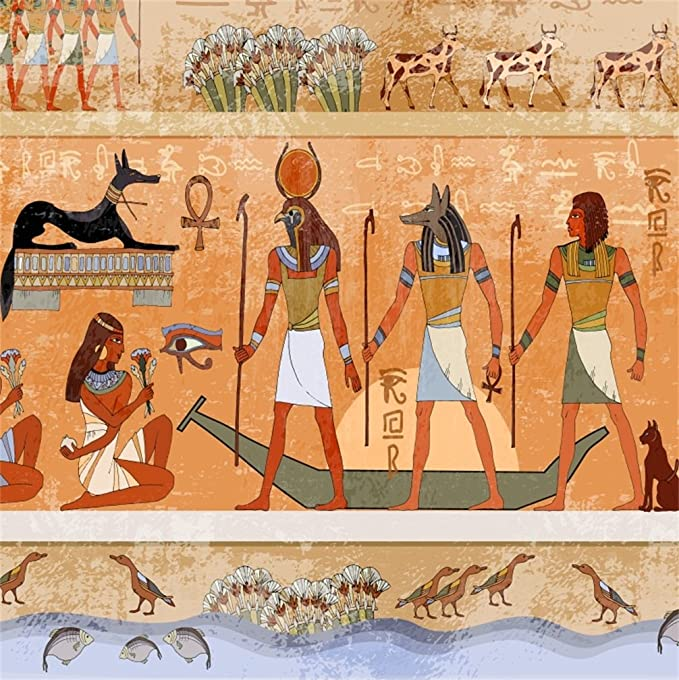 8x6.5FT Polyester Backdrop Photography Background Ancient Egypt Hieroglyphic Carvings Exterior Walls Eyptian Gods and Pharaohs Grunge Seamless Murals Background Studio Props