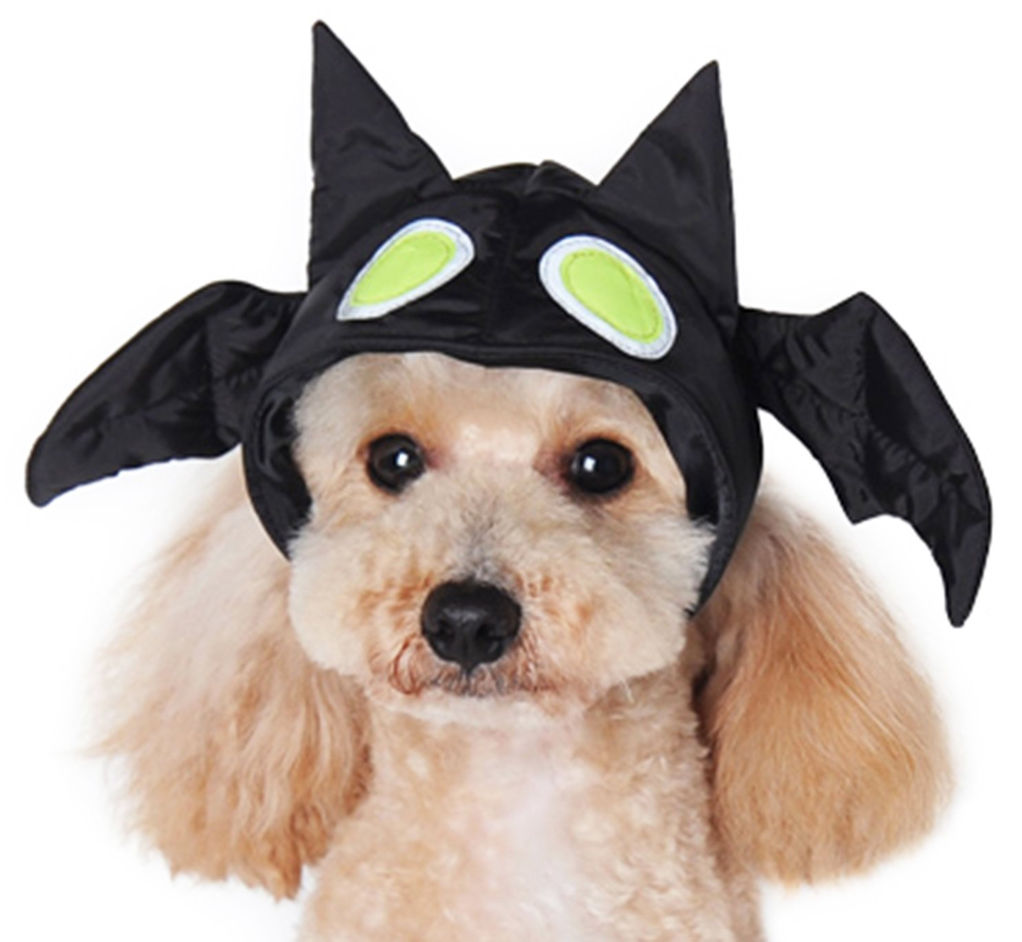 L Dogo Bat Hat w Glow in The Dark Eyes for Cat Dog Puppy Pet (L)