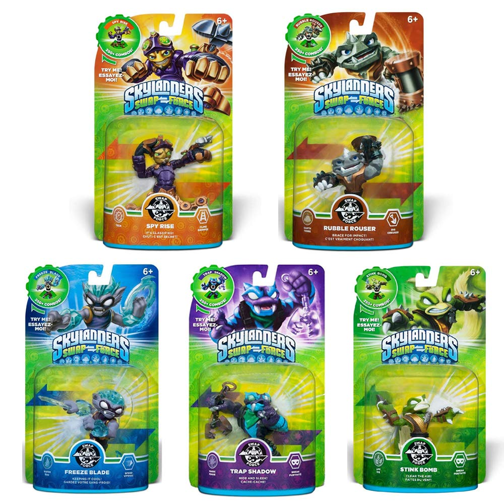 Skylanders SWAP Force & Super Chargers Character Bundle Pack (5): Freeze Blade, Trap Shadow, Rubble Rouser, Spy Rise, and Stink Bomb