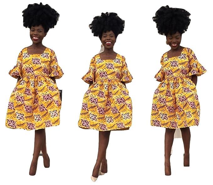 577a5b8290d women African kampala Ankara print veroex hand made knee length dress with  side pockets (2