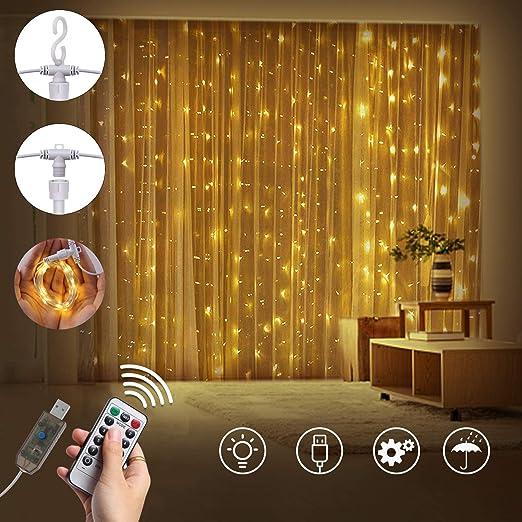 LEDGLE Lichterkettenvorhang LED Lichtervorhang 300 LED 3x3 Meter Lichterkette USB 8 Modi mit Fernbedien f/ür Innen Au/ßen Garten Party Hochzeit Warmwei/ß