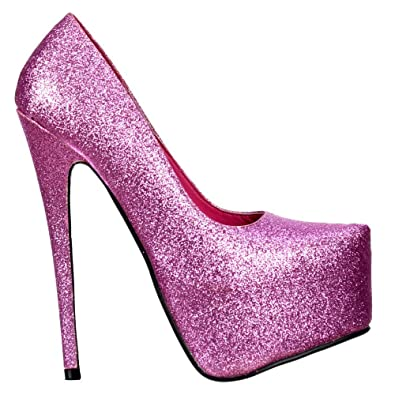 4abb73b38ac7 Onlineshoe Women s Sparkly Glitter High Heel Stiletto Concealed Platform  Shoes Pumps UK7 - EU40 - US9