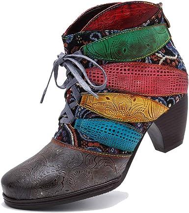 Botín de Cuero con Botines, Zapatos de Invierno para Mujer Botas cálidas Jardín de Flores Hechos a Mano con Cremallera Plana Botas Confortables Zapatos: Amazon.es: Ropa y accesorios