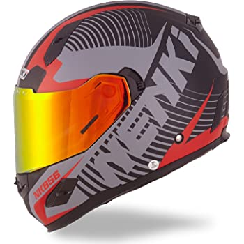 NENKI Helmets NK-856 Full Face Motorcycle Helmets DOT Approved with Iridium Red Visor and Inner Sun Shield Attached Outer Clear Visor (XL, Matt Black & Red)