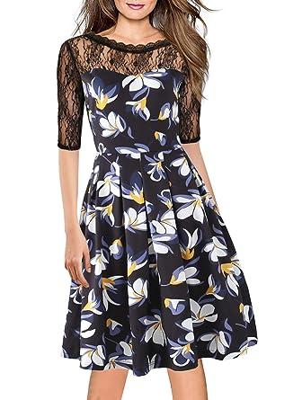 e8a1f8d516df Wiggle Dress for Women s Vintage 1930s 40s 50s Floral Lace Cocktail Party A line  Dress Ladies