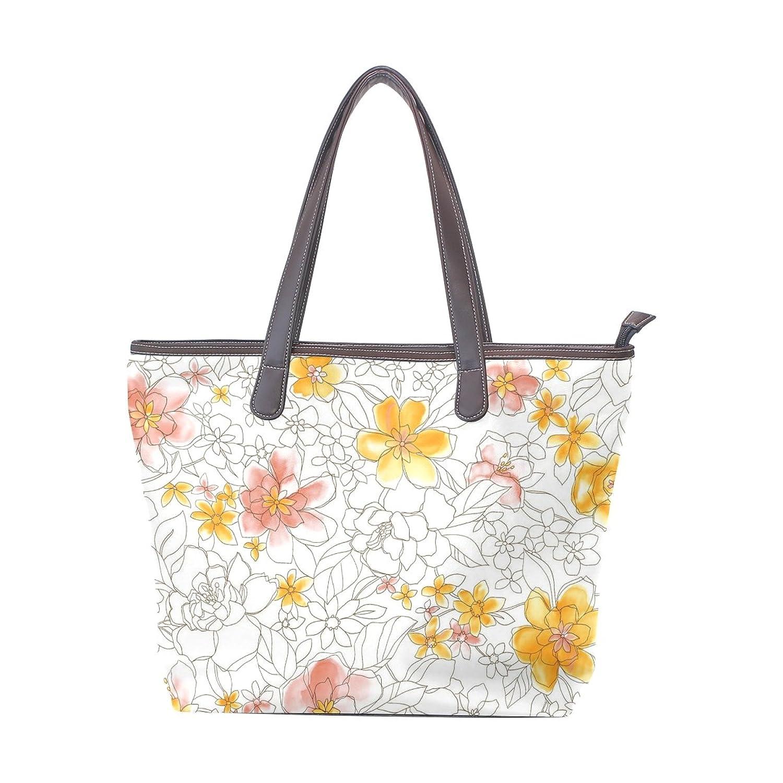 Women Large Tote PU Leather Shoulder Bags Flower Ladies Handbag