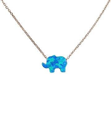 Amazon baby elephant necklace opal elephant necklace baby amazon baby elephant necklace opal elephant necklace baby elephant pendant necklace rose gold 925 sterling silver chain lucky elephant aloadofball Choice Image