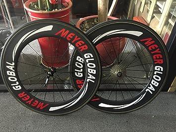 meyerglobal Logo reflectante 88 mm llantas de carbono tubular/clicnher 700 C, diseño de nuevo Set de rueda para bicicleta de carretera Rueda 88 mm excluir Tire de carbono y Gear clincher: Amazon.es: