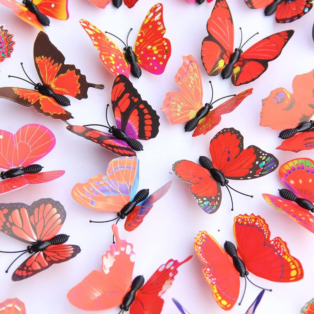 30 pcs Stickers Muraux Papillon 3D DIY Autocollants D/écoration Murale Amovible R/éutilisable de Pi/èce Sticker Muraux Autocollants Muraux Chambre Enfants B/éb/é Garderie Salon Orange