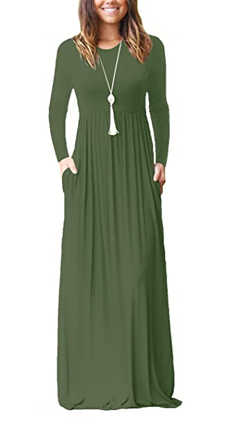 ade15aa7a68f ZIKKER Women Long Sleeve Maxi Dresses Casual Loose Plain Pockets Long Dress  Army Green Small