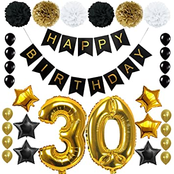 Amazon Com Happy 30th Birthday Banner Ballons Set For 30 Years Old