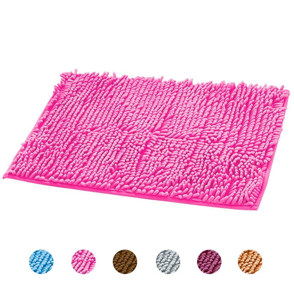 Chenille Bath Rug Shag Doormat Extra Soft and Absorbent Plush Carpet for Bathtub Bathroom Bedside Kitchen Patio Outdoor Machine Wash/Vacuum