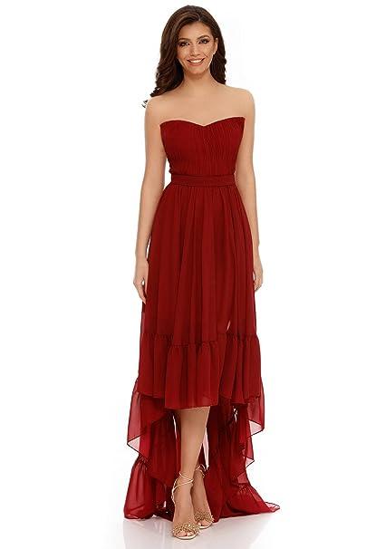 Miss Grey Mujer Ropa de Fiesta Asimétrico Largo sin Tirantes Acampanado Cóctel Vestido de Noche Elegante