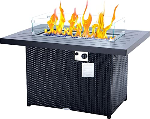 fire pit table 44 Inch 55,000 BTU propane fire pit Auto-Ignition fire pit propane black outdoor propane fire table