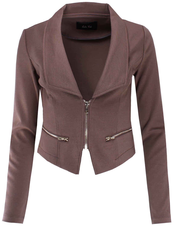 Ladies' Code Business Office Wear Long Sleeve Zip Front Blazer Dark Khaki S Size by Ladies' Code