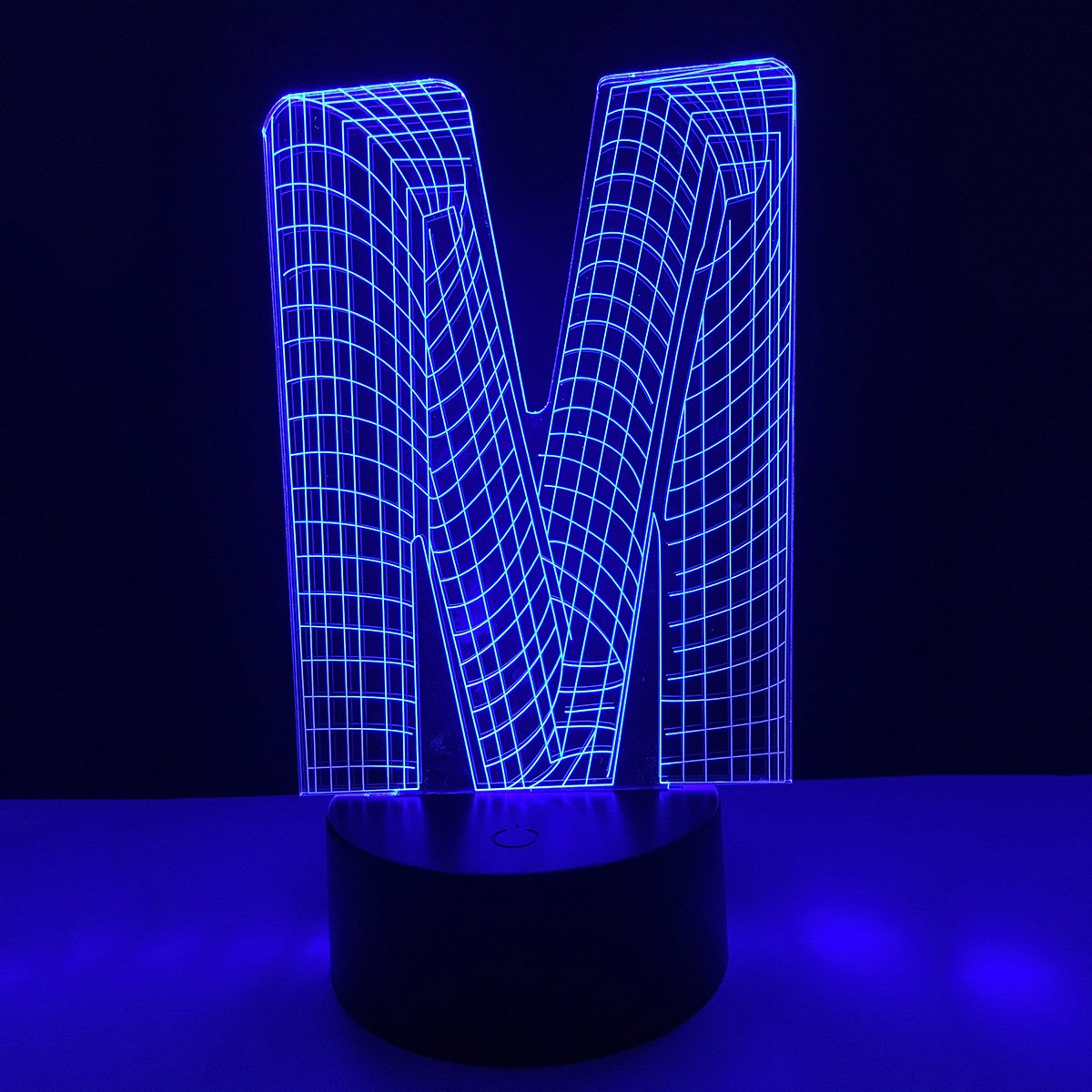 3D Lighting Night Light LED English Letter Alphabet Lamp with USB Power Optical Illusion Visual Table Desk Lamp 7 Colors Touch Table Desk Lamp Home Office Childrenroom Living Bar Theme Light (M)