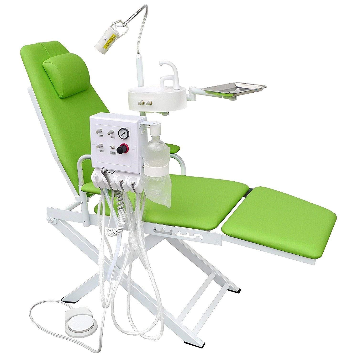 NSKI Portable Folding Chair Mobile Unit+5W LED Surgical Light Lamp+Waste Basin+Water System Supply (2H,Apple Green)