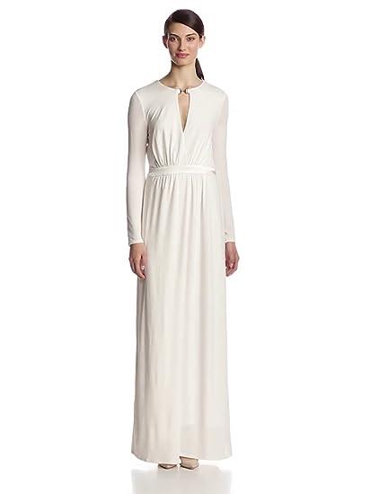 Amazoncom Halston Heritage Womens Long Sleeve Jersey Evening Gown