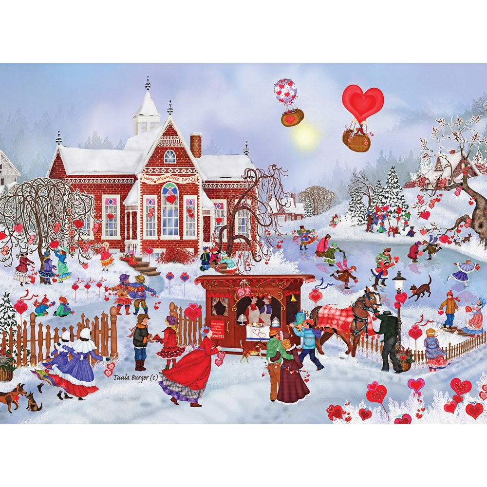 300 Piece Valentine Friends - Love and Hearts Jigsaw by Artist Tuula Burger