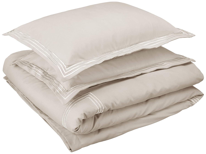 AmazonBasics Embroidered Hotel Stitch Duvet Cover Set - Premium, Soft, Easy-Wash Microfiber - King, Light Grey
