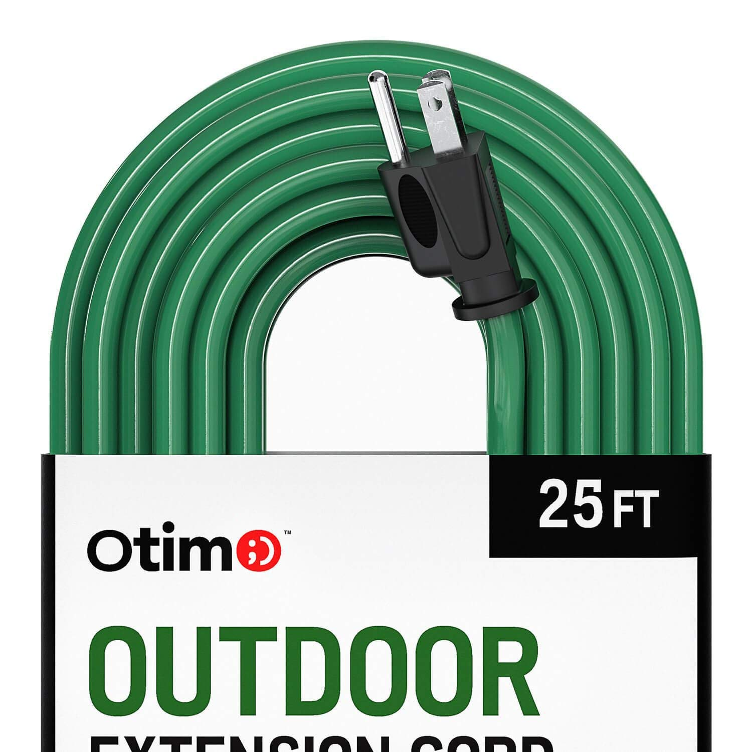 Otimo 25 ft 16/3 Outdoor Heavy Duty Extension Cord - 3 Prong Extension Cord, Green
