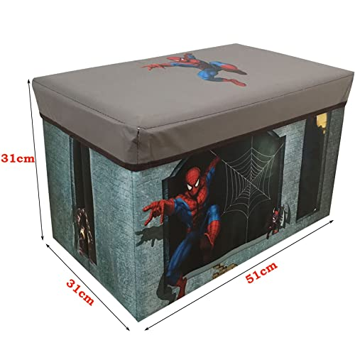 Kids Collapsible Ottoman Toy Books Box Storage Seat Chest: Marvel Avengers Kids Toy Storage Unit, Fabric, Blue, 60 X