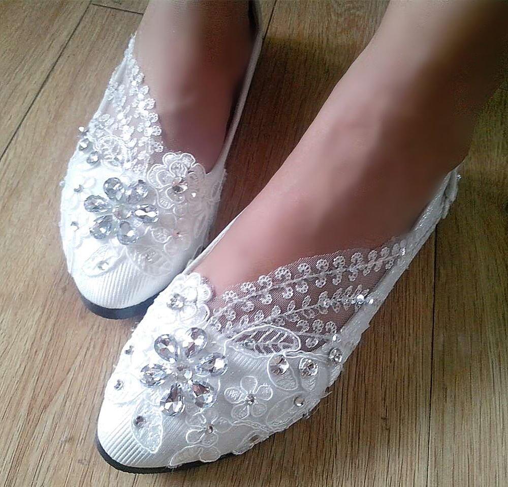 JINGXINSTORE Weiße Hochzeit Spitze Hochzeit Weiße Schuhe Crystal Bridal Weiß 96b61e