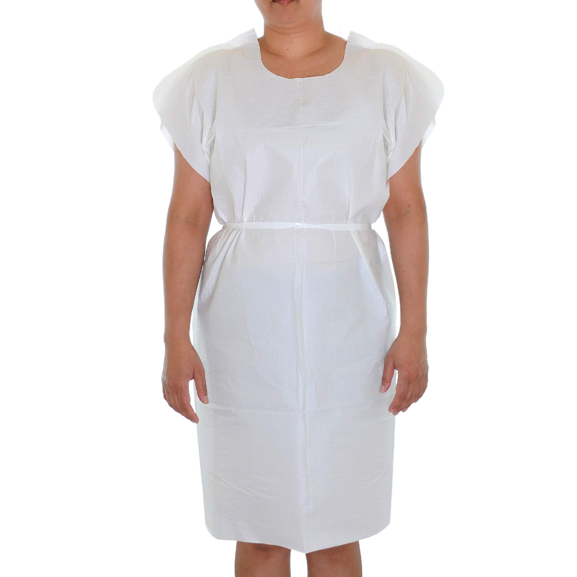 Dealmed Latex-Free Patient Exam Gowns, Tissue/Poly/Tissue 3-Ply, 30'' x 42'', White, 50 count by Dealmed