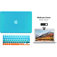 TECHNA Protector Funda Case para Macbook + Protector Skin Cover de Teclado en Español + Webcam Cover AntiSpy Azul Naranja Macbook Air 11'' Model: A1370 / A1465