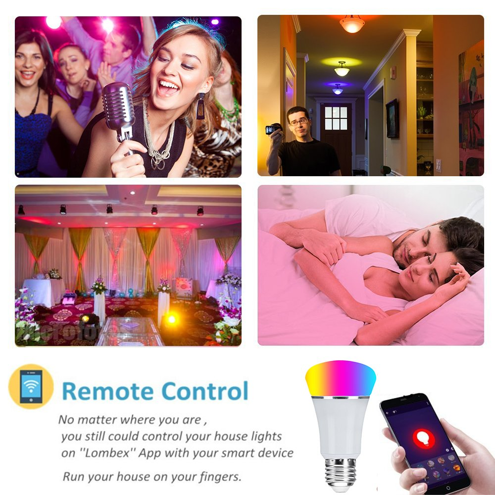 Smart WiFi Bulb,Weton Smart LED Bulb Multicolored Light Bulbs Work with Amazon Alexa Google Home, No Hub Required,Remote Control via Free App for Android & all Smartphones,Dimmable Light Sunrise Light by Weton (Image #6)