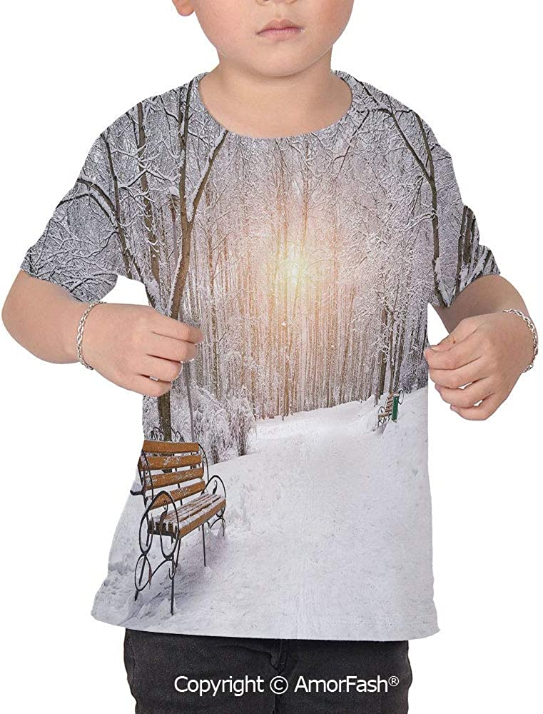PUTIEN Winter Colorful Boys and Girls Soft Short Sleeve T-Shirt,Snow Covered Leafless T